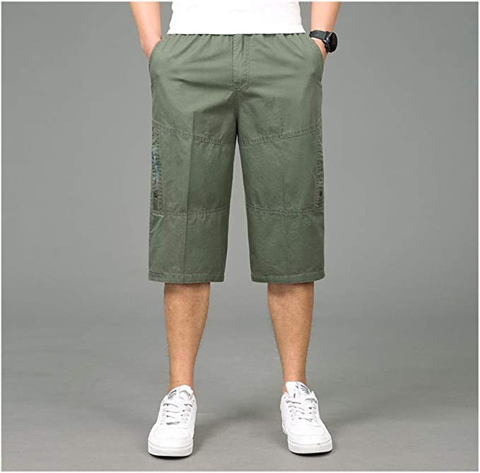 Coolred-Men Straight Pockets Solid Basic Style Casual Cargo Twill Pant
