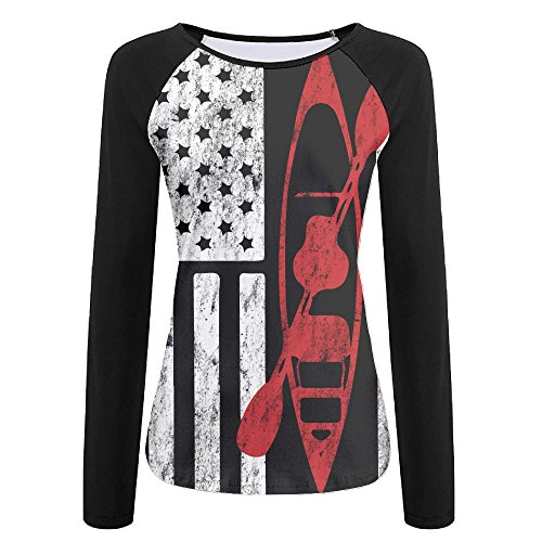 an Flag Women's Printing Raglan Long Sleeve Tops Sweatshirt T-Shirt XL ()