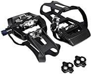 BV Bike Shimano SPD Compatible 9/16'' Pedals with Toe Clips (SPD Cleats Included) - Indoor/Exercise/Pe
