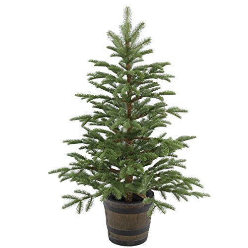 Entrance Tree (National Tree 4 Foot Feel Real Norwegian Spruce Entrance Tree in Whiskey Barrel Pot (PENG4-700-40P))