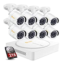 Anlapus 8CH Security Camera System 8 Channel 1080p CCTV DVR Recorder with 2TB Hard Drive and 8PCS 2.0MP HD Outdoor IP66 Waterproof Security Cameras for Homes Easy Remote Access