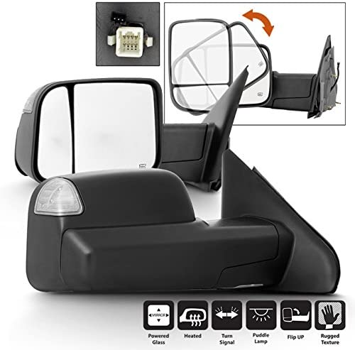 For [2009 Style] 02-08 Dodge Ram 1500/03-09 2500 3500 Power Heated LED Signal Tow Mirrors Replacement