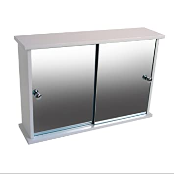New Lloyd Pascal Double Sliding Door Mirrored Bathroom Cabinet
