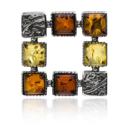Sterling Silver Multicolor Amber Squares Slider Pendant
