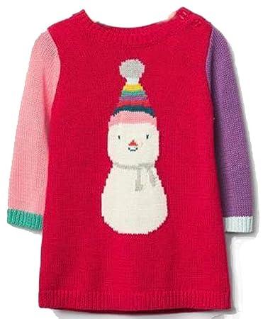 b8a7eccaa Amazon.com  Baby Gap Girls Red Snowman Sweater Dress 0-3 Months  Baby