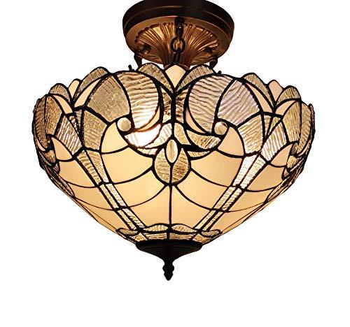 Amora Lighting Tiffany Style Ceiling Lamp Fixture Semi Flush 16