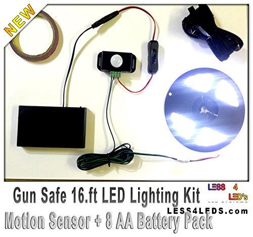 Dbl Rifle (Prewired Cool White Gun Safe Light flexible Battery Powered LED Strip Motion Sensor Kit, Waterproofed 16.4 ft)