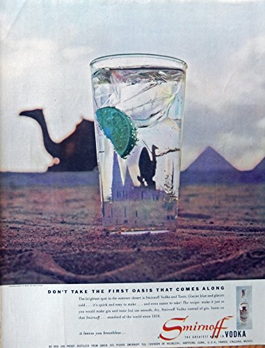 Original Vodka (Smirnoff Vodka, 50's Print Ad. full Page Color Illustration (Bert Stern, photo in Egypt) Original Vintage, Rare 1956 Collier's Magazine Art)
