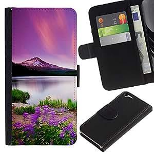 NEECELL GIFT forCITY // Billetera de cuero Caso Cubierta de protección Carcasa / Leather Wallet Case for Apple Iphone 6 // Hermosa Montaña Púrpura
