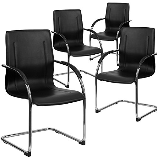 Flash Furniture 4 Pk. Black Vinyl Side Reception Chair with Chrome Sled Base