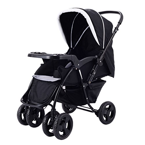 Costzon Infant Stroller Tow Way Foldable Baby Toddler Pushchair w/Storage Basket (Black) by Costzon