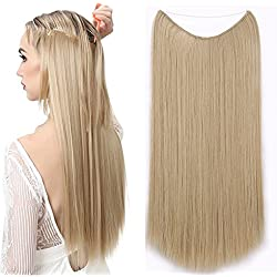 AisiBeauty Flip in Hair Extensions Wire In Synthetic Hair Invisible Secret Wire Hidden Hair Extension Headband straight Wavy Hair Extension (27-613#)