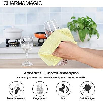 Paño de limpieza grande de microfibra Charm & Magic para todas las superficies, paquete de 10 unidades, color Green + Yellow