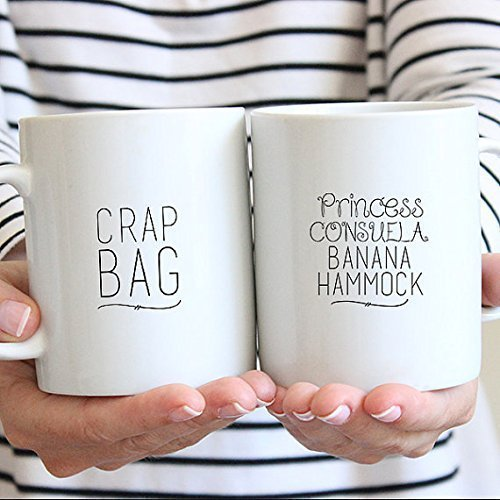 Funny Couples Mugs - Dishwasher Safe - Crap Bag Mug - Couples Coffee Mugs - Princess Consuela Mug - His and Her Mug Set - Engagement Mug Set - Couple - Square 11 Times Ny Ny