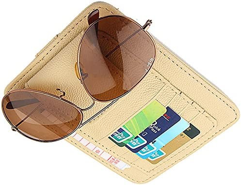 CZGarage Car Sun Visor Sunshade Sleeve Wallet PU Leather Storage Case with Glasses and Cards Organizer Clips Holder Brown