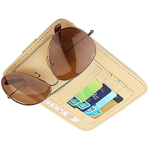 CZGarage Car Sun Visor Sunshade Sleeve Wallet PU Leather Storage Case with Glasses and Cards Organizer Clips Holder Beige