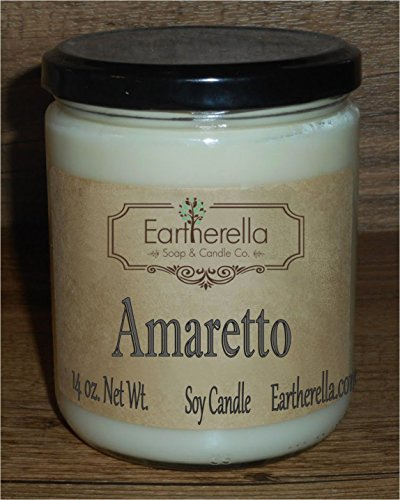 AMARETTO Natural Soy Wax 14 oz. Jar Candle, 90+ hours, cherry, almond, sweet, strong