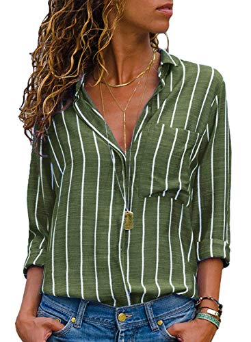 MISSLOOK Women's Stripes Button Down Shirts Roll-up Sleeve Tops V Neck Casual Work Blouses - Green XL