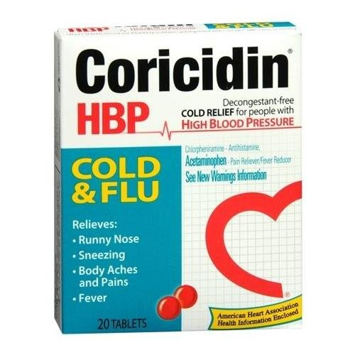 Coricidin HBP Cold and Flu Tablets 20 TB - Buy Packs and SAVE (Pack of 3)