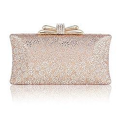 Damara Womens Hardcase Glitter Cut-out Allover Evening Bag,Black