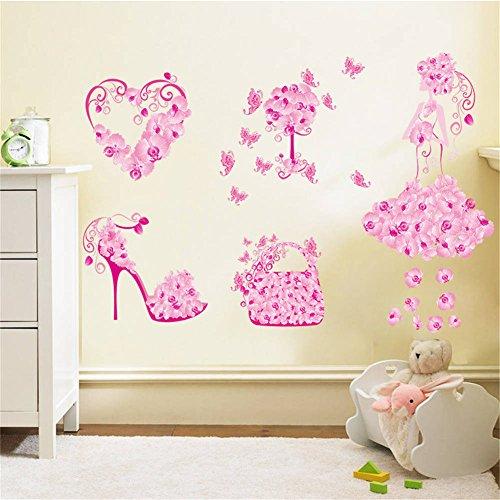 BIBITIME Valentine's Day Pink Flower Heart Butterfly Wall De
