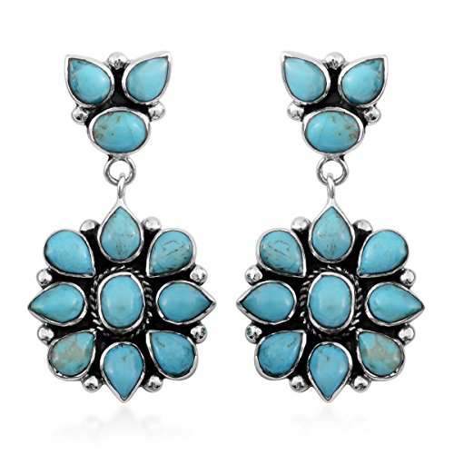 925 Sterling Silver Turquoise Southwest Jewelry Drop Dangle Earrings for ()