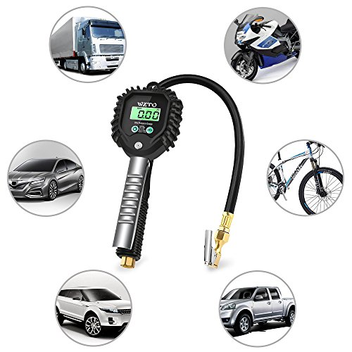 WZTO Digital Tire Pressure Gauge High Precision Tire Inflator Gauge 255 PSI with LCD Screen, Air Chunk, and Rubber Hose for Any Car, Truck, Motorcycle by WZTO (Image #5)