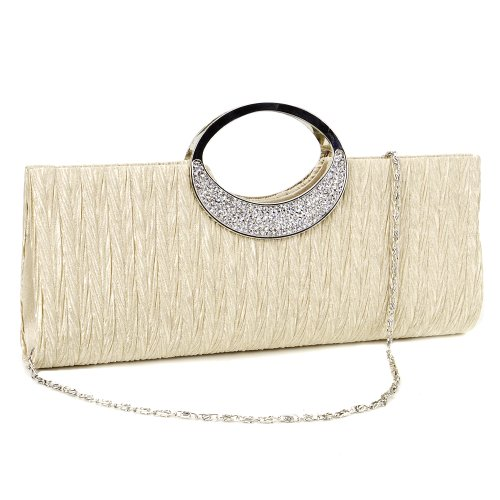 Clutch Look Satin Evening Anladia Handle Pleated Beige Sateen Handbag Prom Rhinestone Ring nq1wU17zXC