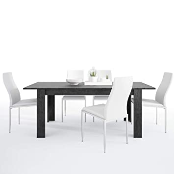 Furniture To Go Dining Table Set Mdf Slate Greyalpine White