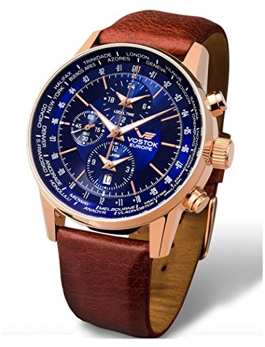 Vostok-Europe - Gaz Limo World Timer Alarm Rosegold Brown Leather Watch - YM26/5609256