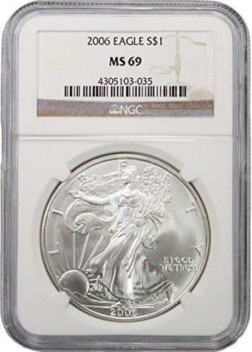 2006 American Silver Eagle - Brown Label, 1oz One Ounce, 99.9% Pure Silver - Certified NGC (Gold Ngc Mint)