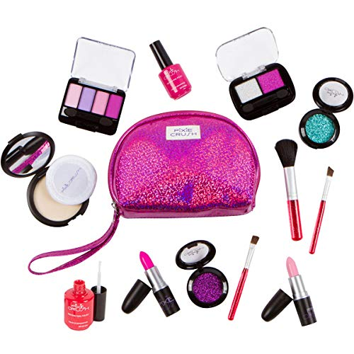 Pixie Girl Presents (PixieCrush Pretend Play Makeup Kit. Designer Girls Purple Sparkle Bag Deluxe Makeup)
