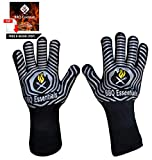 BBQ Essentials Heat Resistant BBQ Gloves   1472°F Extreme Heat Proof Oven Mitts   One Size Fits All Silicone Based Fire Safety Gloves for Cooking, Grilling, Baking, Camping, Pot Handling, Free E-Book