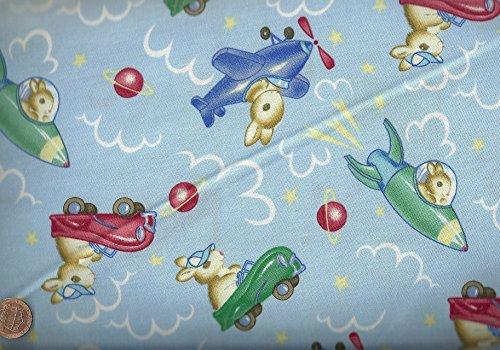 Go Bunny Go Bunnies Cars Rockets Blue Michael Miller faric -