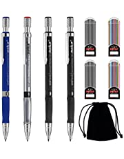 9 PCS 2mm Mechanical Pencils Set,2B Pencils Mechanical Art Pencil Automatic Lead Pencils 4 Cases Color and Black Pencil 2B Lead Refills with Black Velvet Bag for Writing Drawing Sketching Crafting