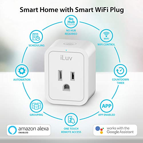 iLuv Smart Plug, Smart Outlet Up To 1875W, Multiple Schedules,Timer and Voice Command, WIFI Plug work with Alexa or Google Assistant. No Hub Required 1 Smart Plug