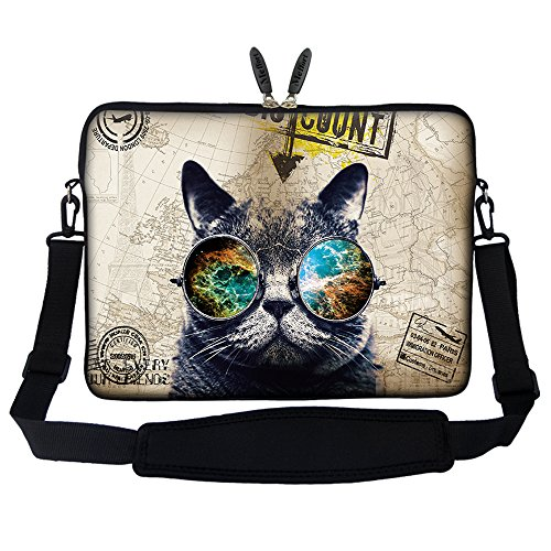 - Meffort Inc 17 17.3 inch Neoprene Laptop Sleeve Bag Carrying Case with Hidden Handle and Adjustable Shoulder Strap - Cool Cat