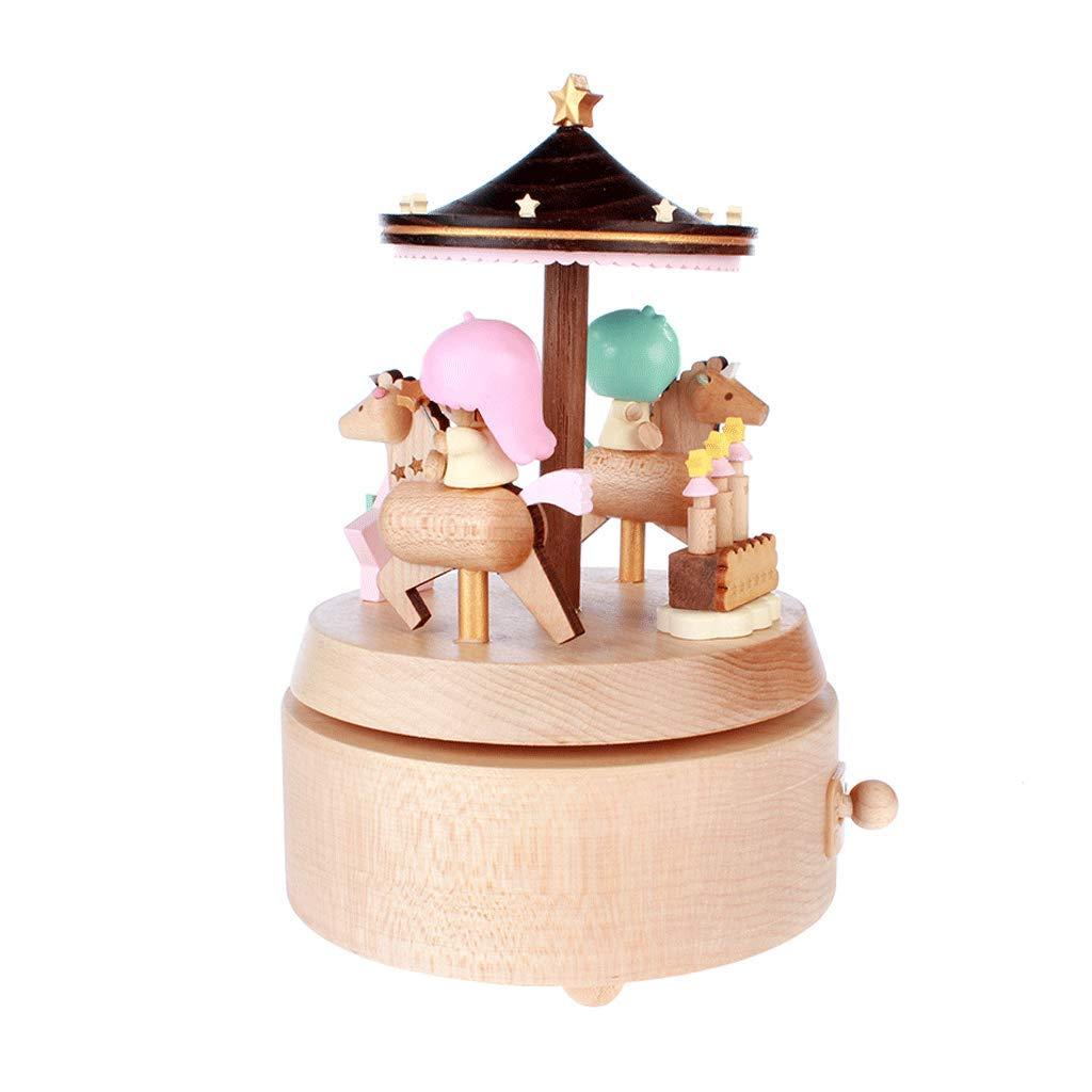 Spieluhr Hölzerne Spieluhr Gemini Rotating Music Box Trojaner Spieluhr Geburtstagsgeschenk