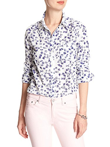 Banana Republic Womens Floral Crinkle Easy Fit Button Down Shirt White Blue