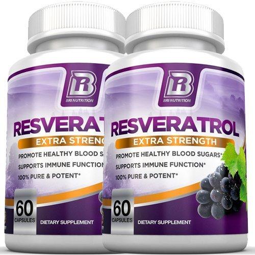 BRI Nutrition Resveratrol - 1200mg Maximum Strength Supplement - 30 Day Supply - 60 Veggie Capsules - 2-Pack