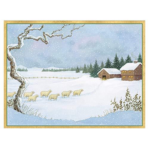 Caspari Sheep Returning Home Boxed Christmas Cards - 16 Cards & 16 Envelopes