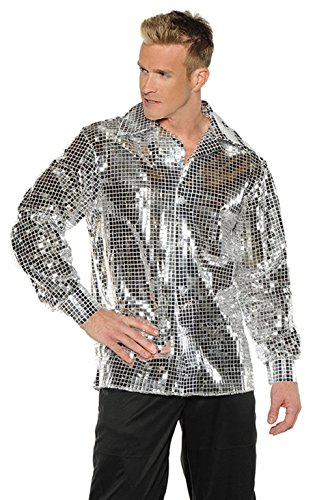 1970 Pimp Costumes (OvedcRay 1970S 70S Silver Disco Ball Shirt Sequin Costume Dance Saturday Night Fever Pimp)