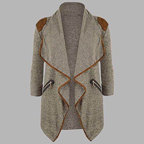 Punto Larga La Tamaño Tops Outwear de de Abrigo Chaqueta Más La de de Las Caqui Larga Mujeres Casuales Rebeca de Manera Logobeing Manga q68gP61w