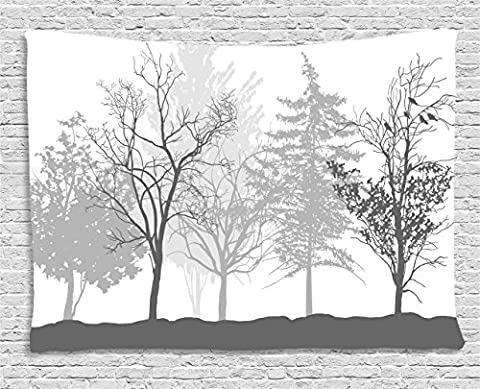 Nature Tapestry by Ambesonne, Silhouette of Trees Forest Freshness Themed Woodland Branches Artful Image, Wall Hanging for Bedroom Living Room Dorm, 80WX60L Inches, Light Grey - Christmas Tree Tapestry