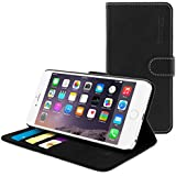 iPhone 6 / 6s Plus Case, Snugg® - Leather Wallet Cover Case with Lifetime Guarantee (Black) for Apple iPhone 6 / 6s Plus