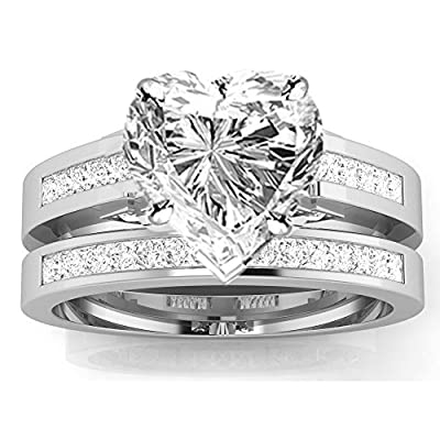 1.2 Cttw 14K White Gold Heart Cut Channel Set Princess Cut Bridal Set Diamond Engagement Ring Wedding Band with a 0.5 Carat H-I Color SI2-I1 Clarity Center