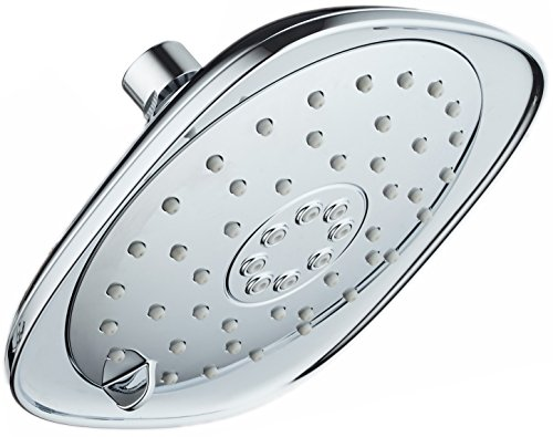 High-Pressure 3-function Giant 7.3-Inch Designer Rain Shower Head w/High-Power Pulsating Massage & Whisper-Quiet(TM) Technology! More Power - Less Noise/Brass Metal Connection Nut, Anti-Clog Jets