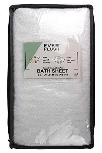 Everplush Diamond Jacquard Bath Sheet 2 Pack in White by Everplush (Image #5)