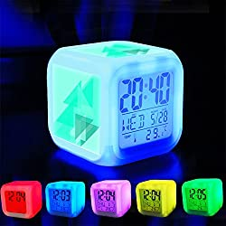 Alarm Clock 7 LED Color Changing Wake Up Bedroom with Data and Temperature Display (Changable Color) Customize the pattern-225.Abstract, Background, Triangle, Background Design, Blue
