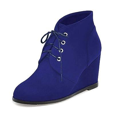 Minetom Otoño Invierno Botines Mujer Tacón Ancho Cuña Botas Botita Botines Moda Casual Gamuza Zapatos Elegante Encaje hasta Martin Boots: Amazon.es: Zapatos ...